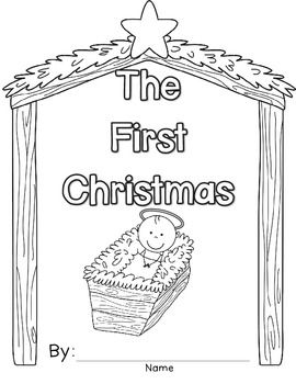 first christmas book writing nativity coloring page and card