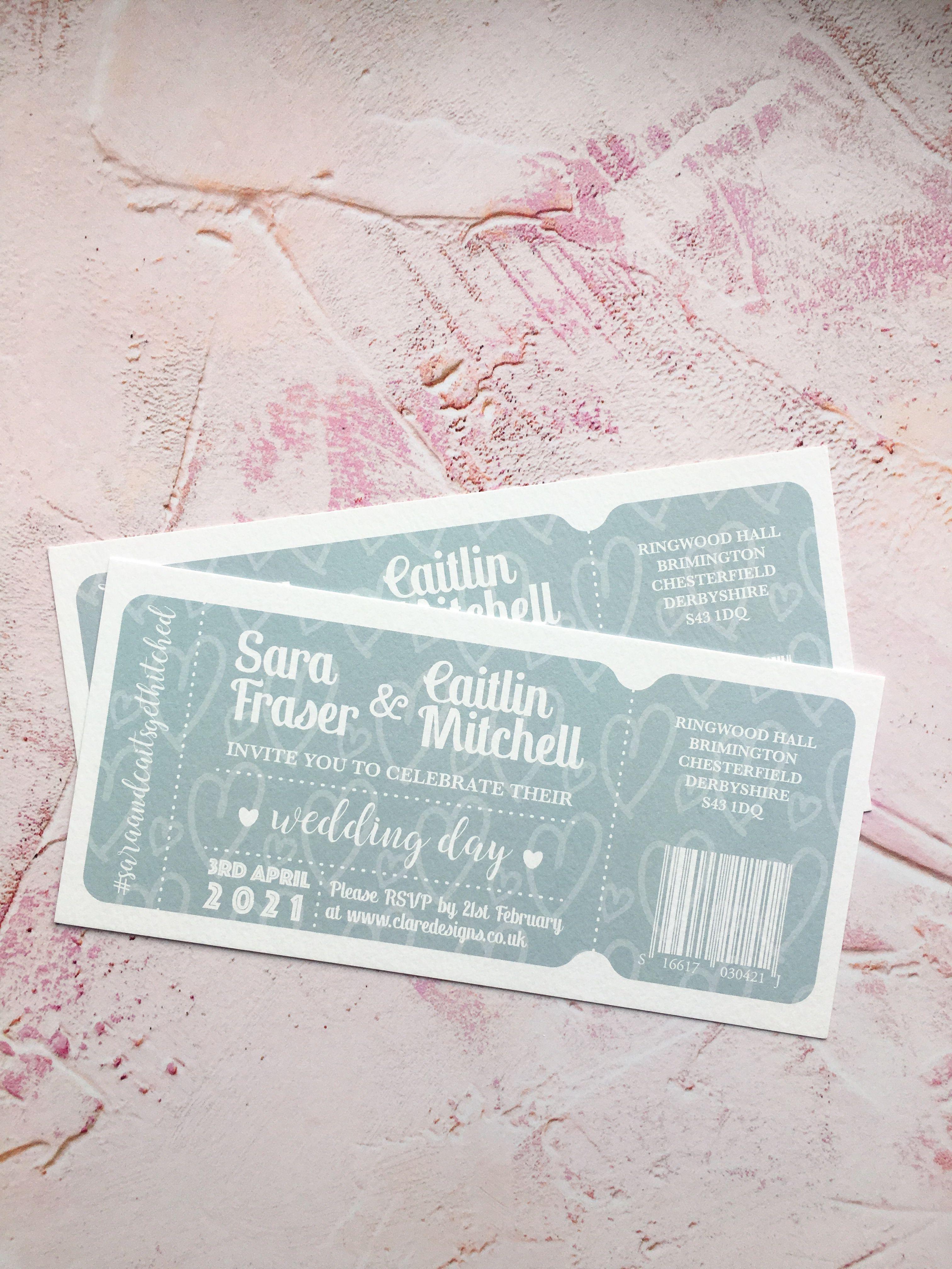 Dusky Blue TicketStyle Invitation Ticket style