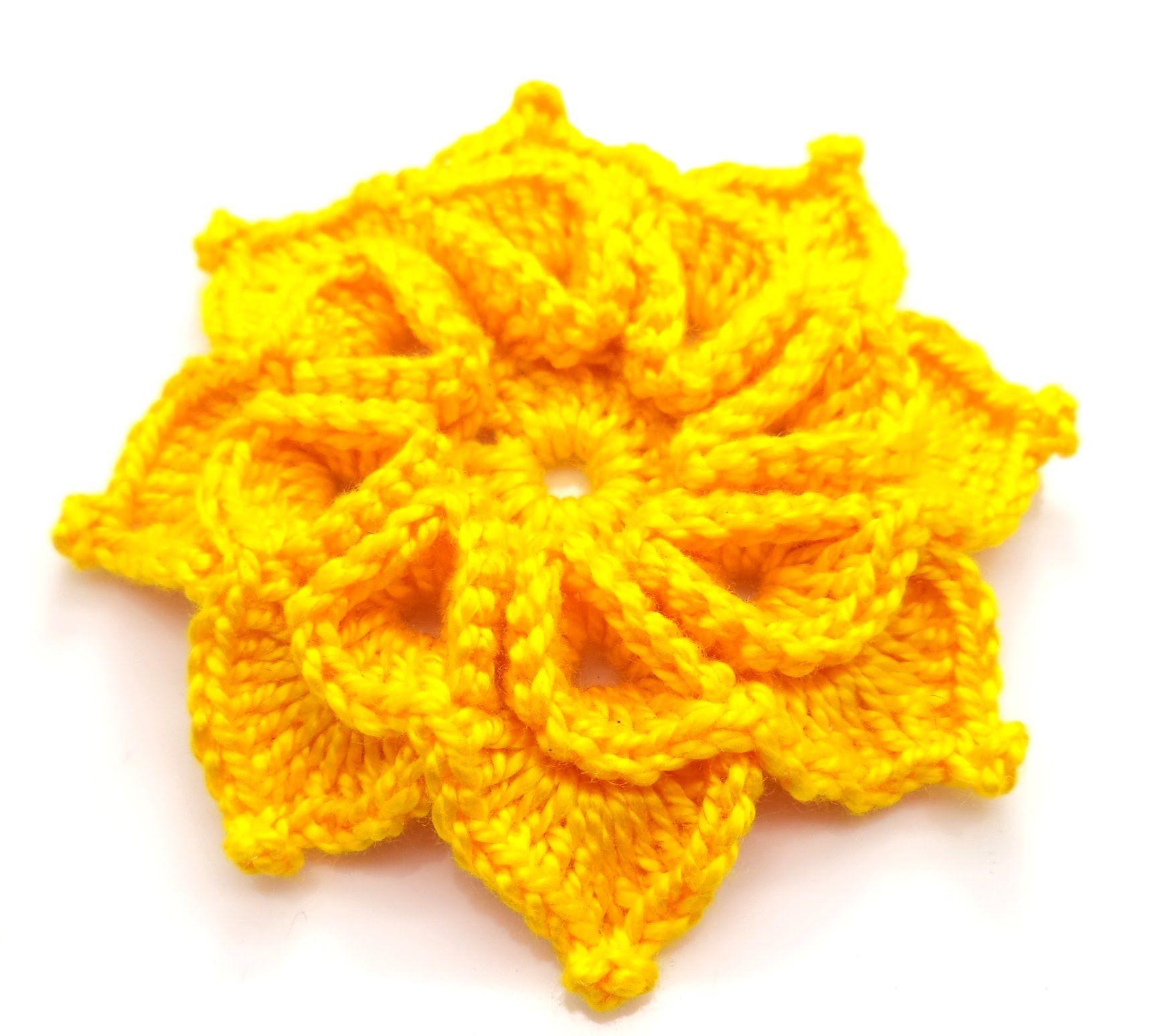Flor amarela de oito pétalas | flores de crochê | Pinterest ...
