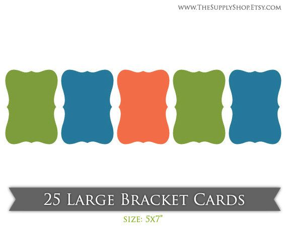 25 Large Bracket Cards 5x7. $13.50, via Etsy.