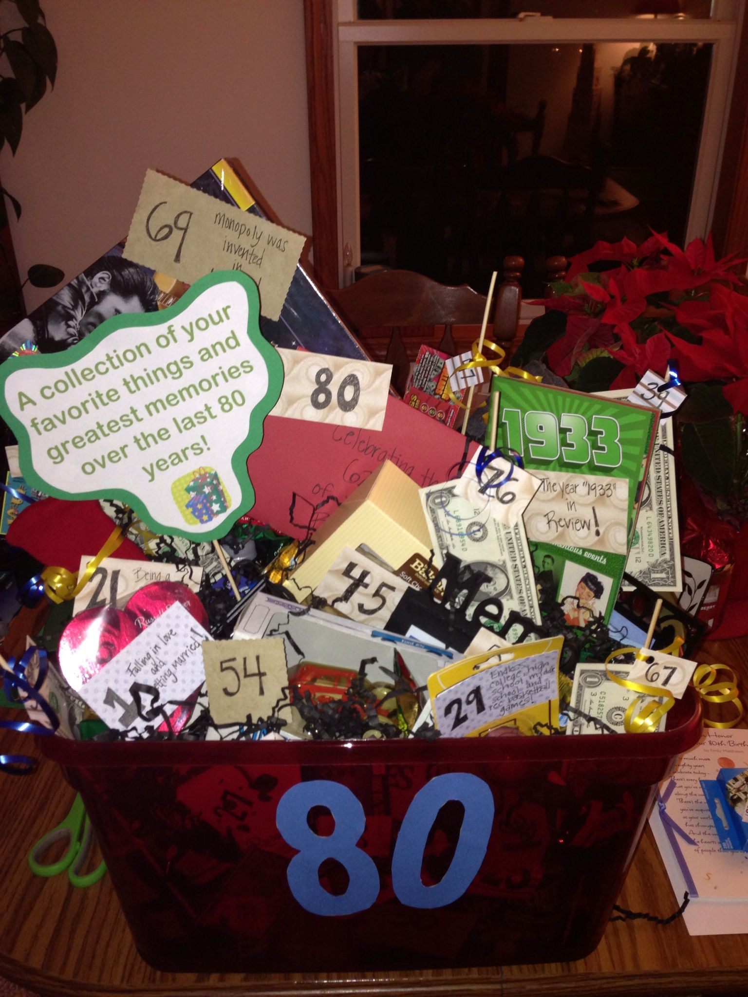 80th Birthday Basket For My Grandpa Filled With His Favorite