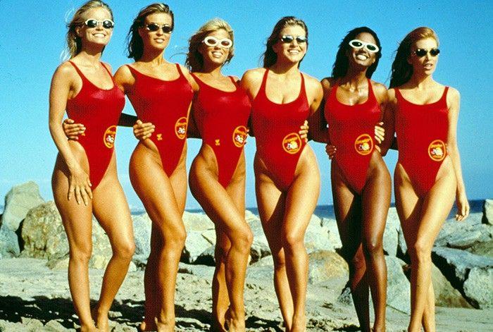 MENS RED /& YELLOW BAYWATCH BEACH COSTUME 1990s SHOW DAVID HASSELHOFF FANCY DRESS