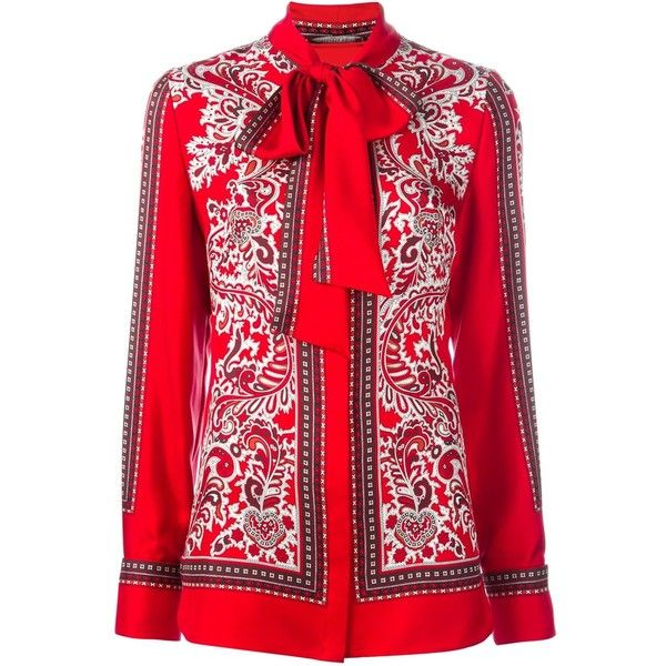 Alexander McQueen Paisley Print Scarf Blouse (2,100 CAD) ❤ liked on Polyvore featuring tops, blouses, alexander mcqueen tops and alexander mcqueen