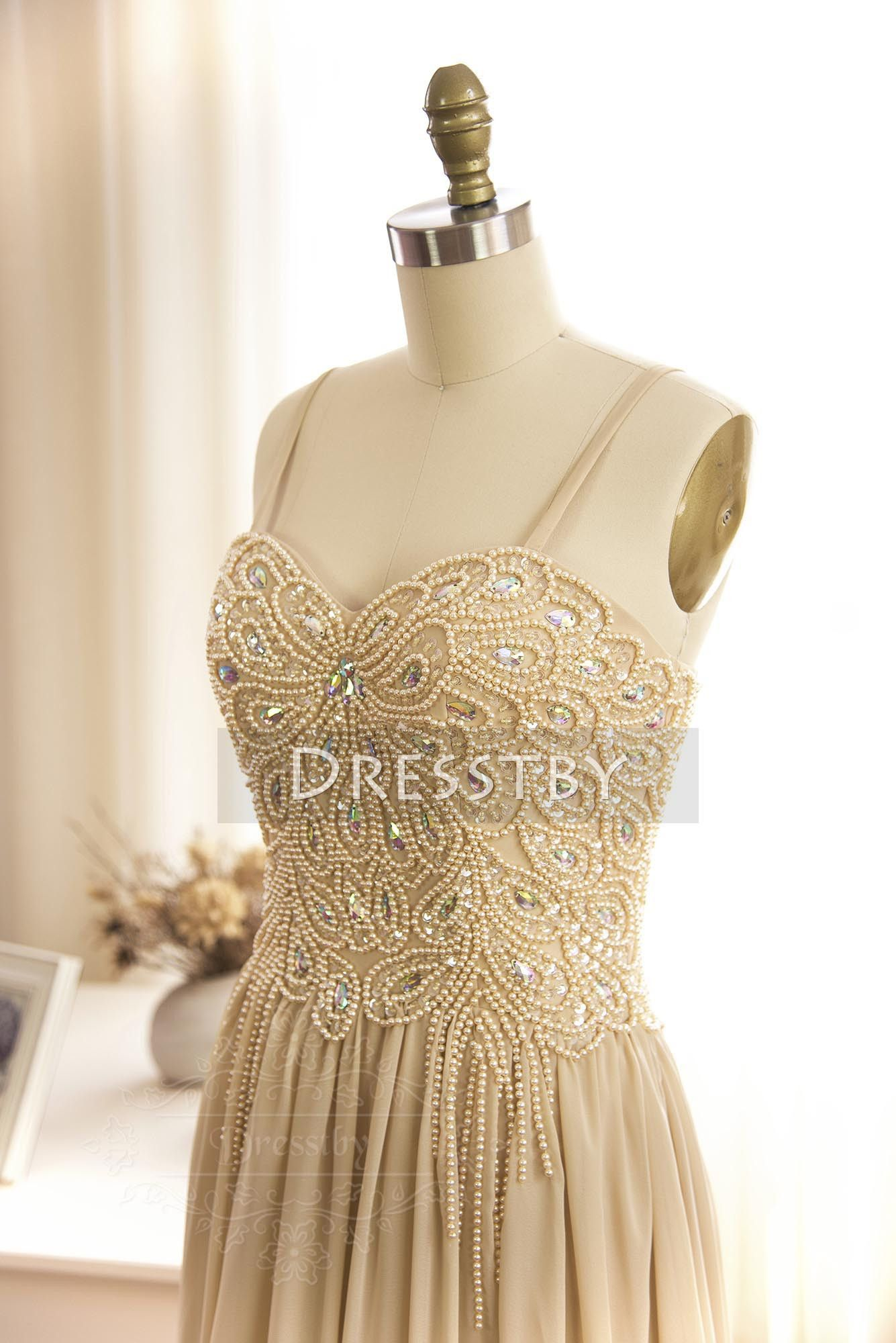 Champagne sweetheart neck chiffon beaded long prom dress evening