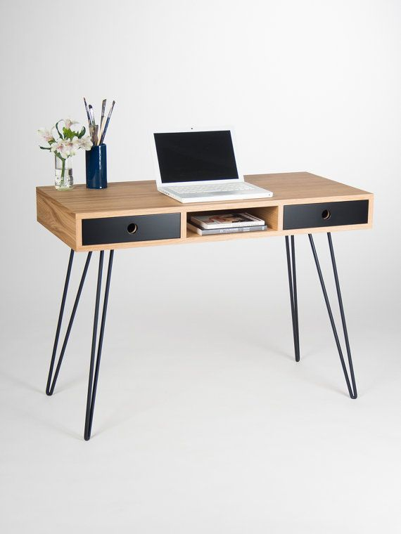 Home office desk, industrial small table, bureau,