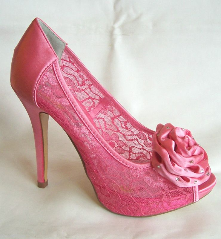 NEW WOMENS CORAL PINK SATIN & LACE WEDDING BRIDAL PROM SHOES LADIES ...