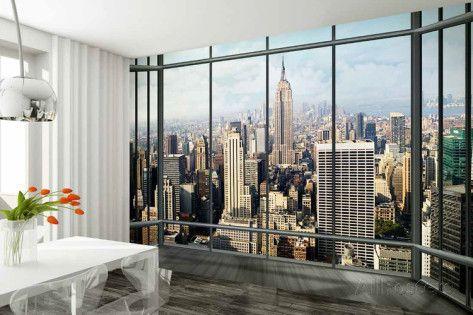 Silueta de Nueva York por una ventana - Mural de papel pintado