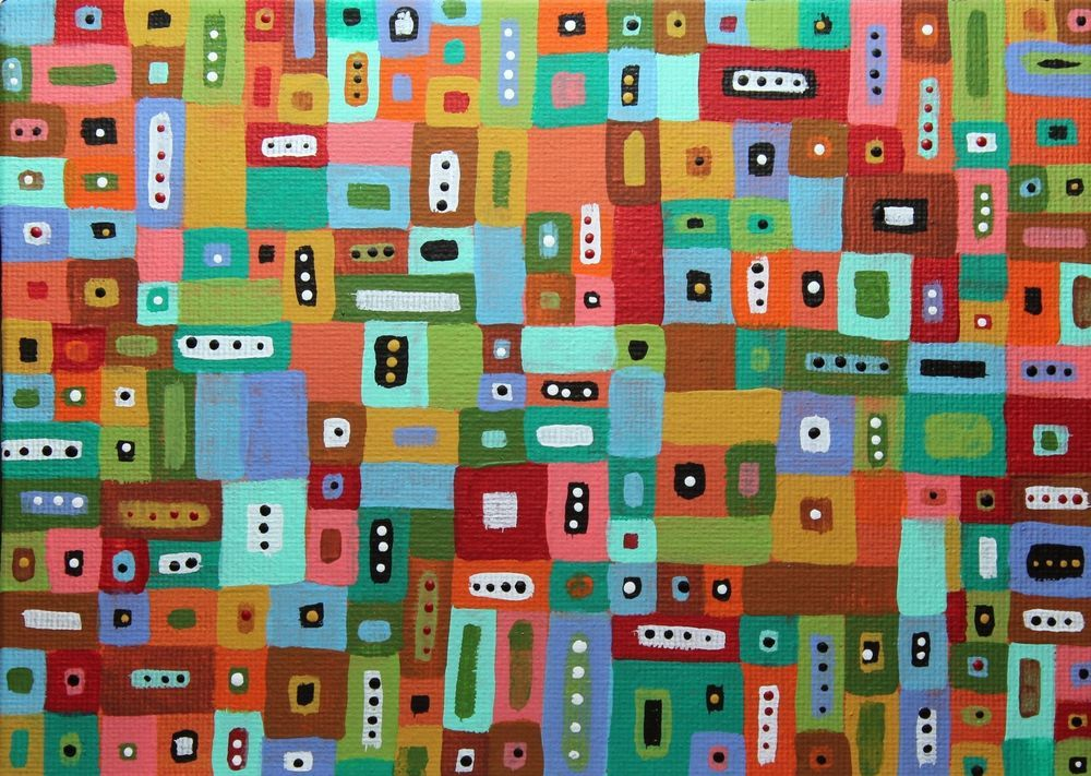 Blocks 5x7inch ORIGINAL Canvas Panel PAINTING Abstract FOLK ART Karla Gerard ..new painting just finished and now for sale... #FolkArtAbstractPrimitiveLandscape