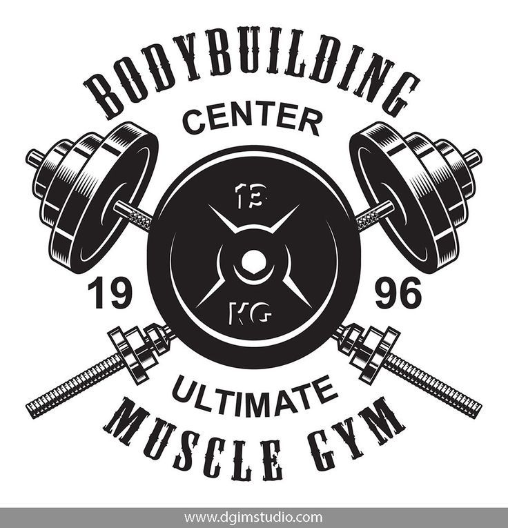 Bodybuilding and fitness bundle Monochrome print of the crossed barbells. A great option for the logo of a fitness club or gym. Editable text and convinient file formats. Click the link to find more fitness elements, badges, emblems and designs!