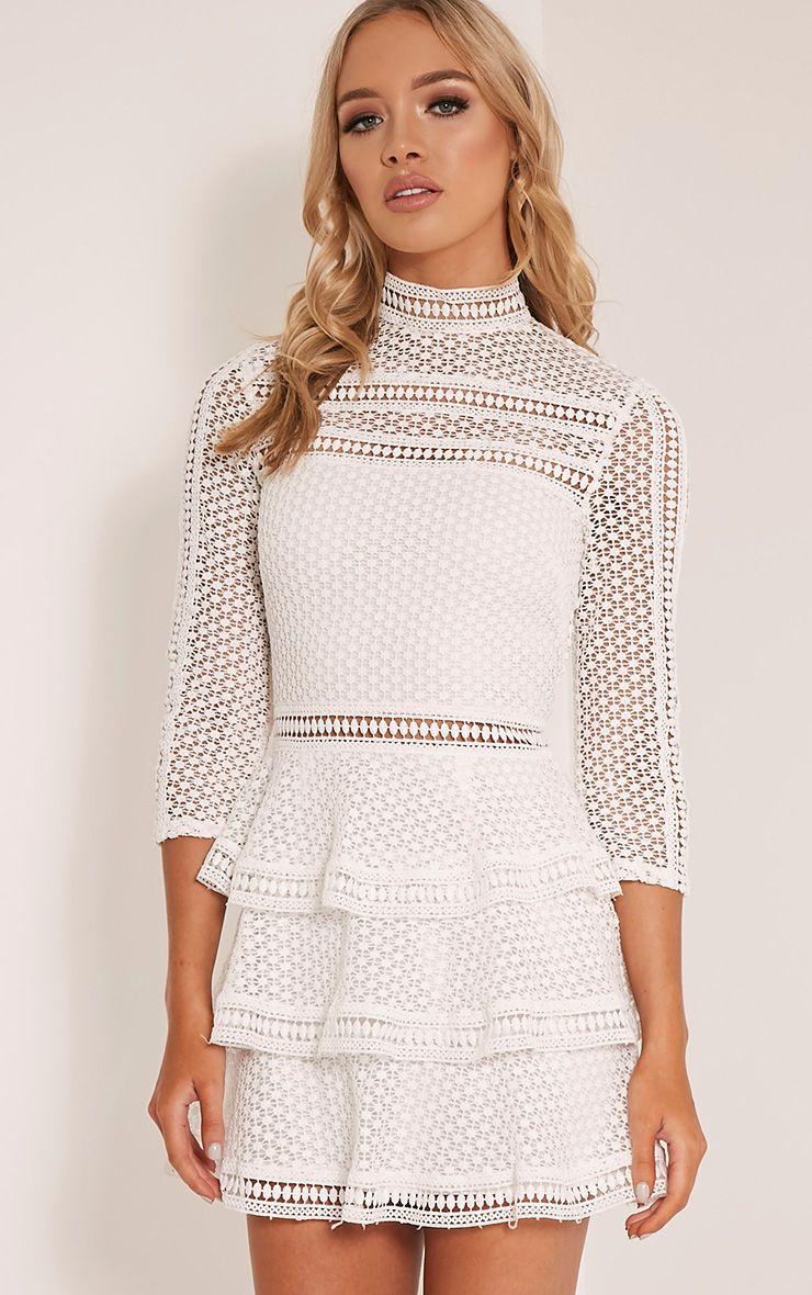 Caya White Lace Panel Tiered Mini Dress Dresses Prettylittlething Prettylittlething Usa [ 1180 x 740 Pixel ]