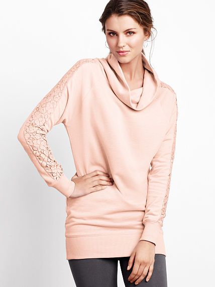 Lace Cowlneck Tunic (Barely Blush)