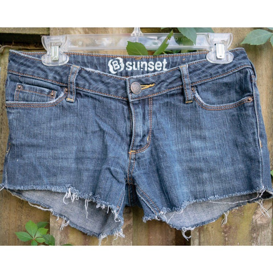 "754455f783 Distressed short jean shorts, denim blue jorts ""Sunset"" cut - Depop #ad  #asos #whitepants #bikershorts #depopclothing #bikershort #depopmarketplace  #short ..."