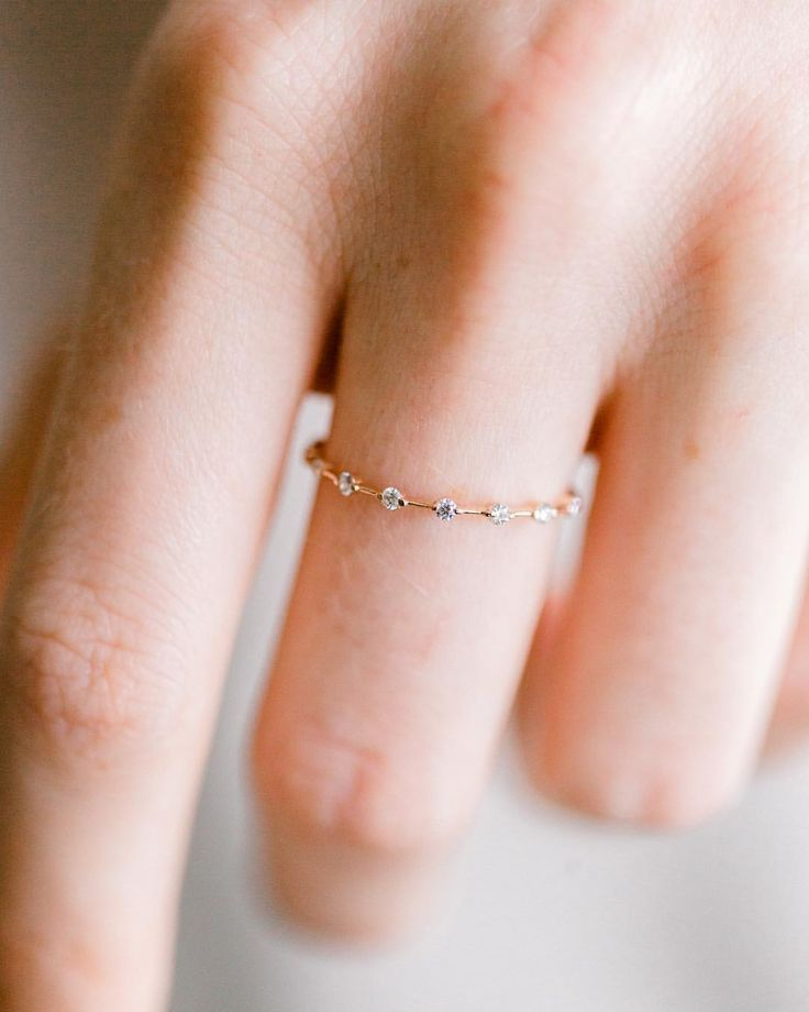 Photo of Petite Diamond Distance Band in 14 carat yellow gold ⭐️ Back in stock at Mel… – Diy Jewelry P…
