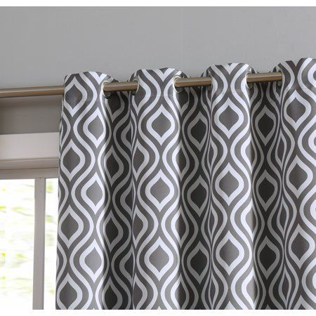 Hlc.me Ogee Trellis Print Blackout Thermal Grommet Top Curtain Panels Window - 99% Light Blocking - Privacy & Room Darkening - Pair Size: 52 inch x 63 inch / Pair, Gray #masterbedroompaintcolors
