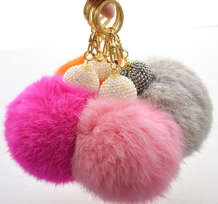 Extra Big Size Soft Genuine Rabbit Fur Ball Keychain Key Ring