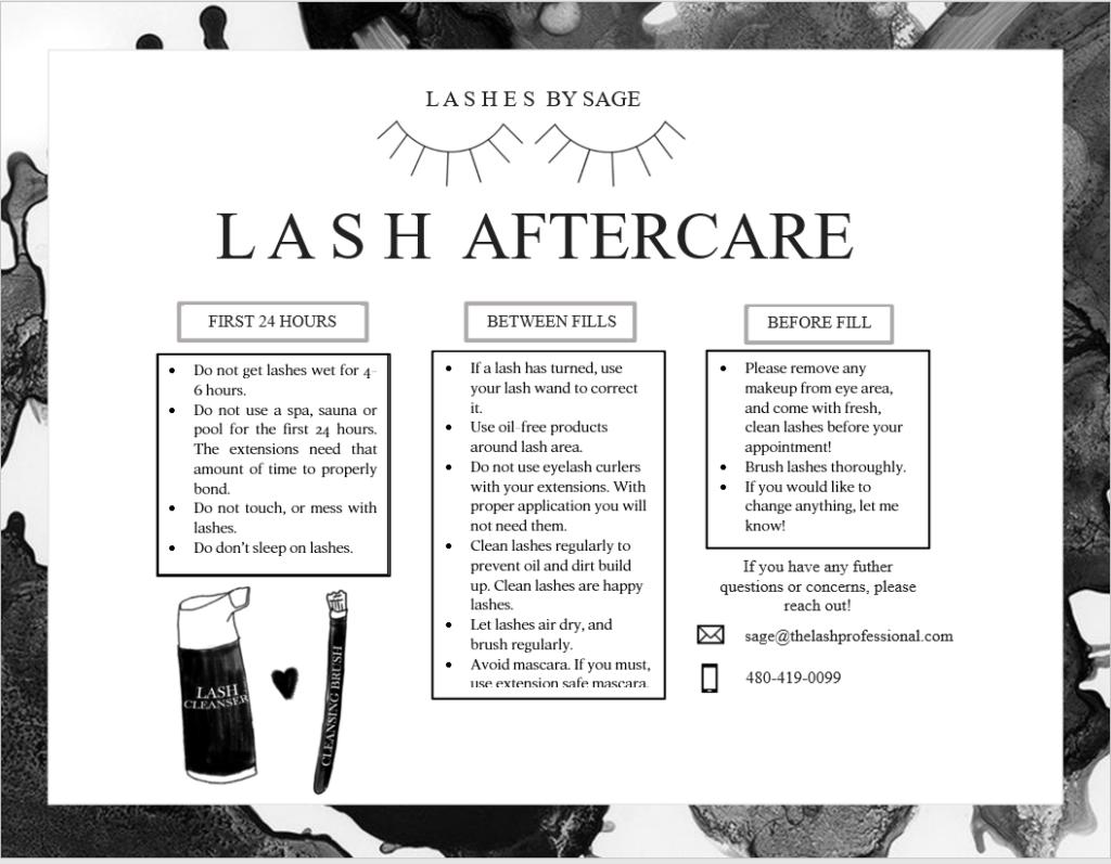 Lash Aftercare Downloadable Template Eyelash Extensions Lash Quotes Lash Extensions