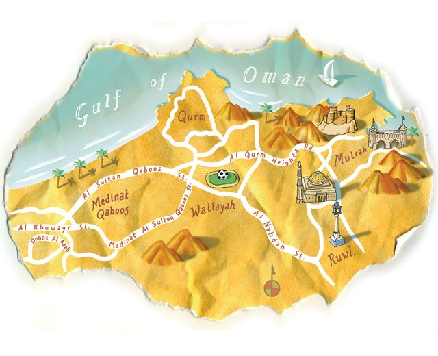 Map of muscat oman by bill wood maps pinterest destinations map of muscat oman by bill wood gumiabroncs Image collections