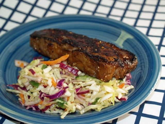 Grilled East-West Steak With Jalapeno Slaw Recipe - use gf soy sauce (or coconut aminos) and beer, swerve instead of the sugar and a little blackstrap molasses instead of the brown sugar
