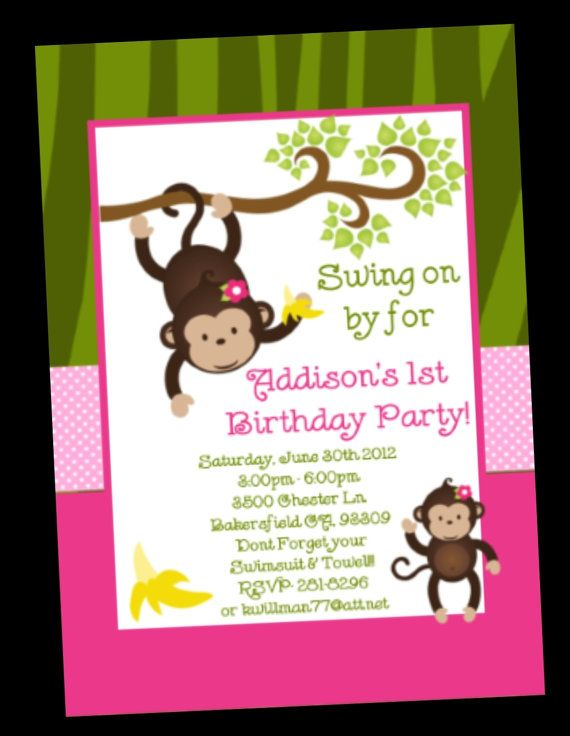 Monkey Birthday Invitation Monkey Birthday by CutiesTieDyeBoutique ...