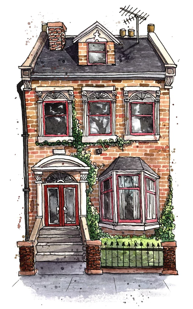 (1) London Townhouse, watercolour and ink, me, 2019 : Watercolor