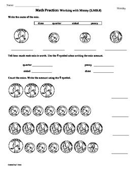 2.MD.8) 2nd Grade Common Core Math Practice Sheets- 1st 9 Weeks ...