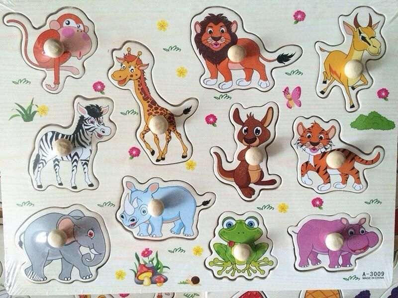 Baby Wooden Animal Puzzle Hand Grab Board Educational Toys Montessori Child Gift