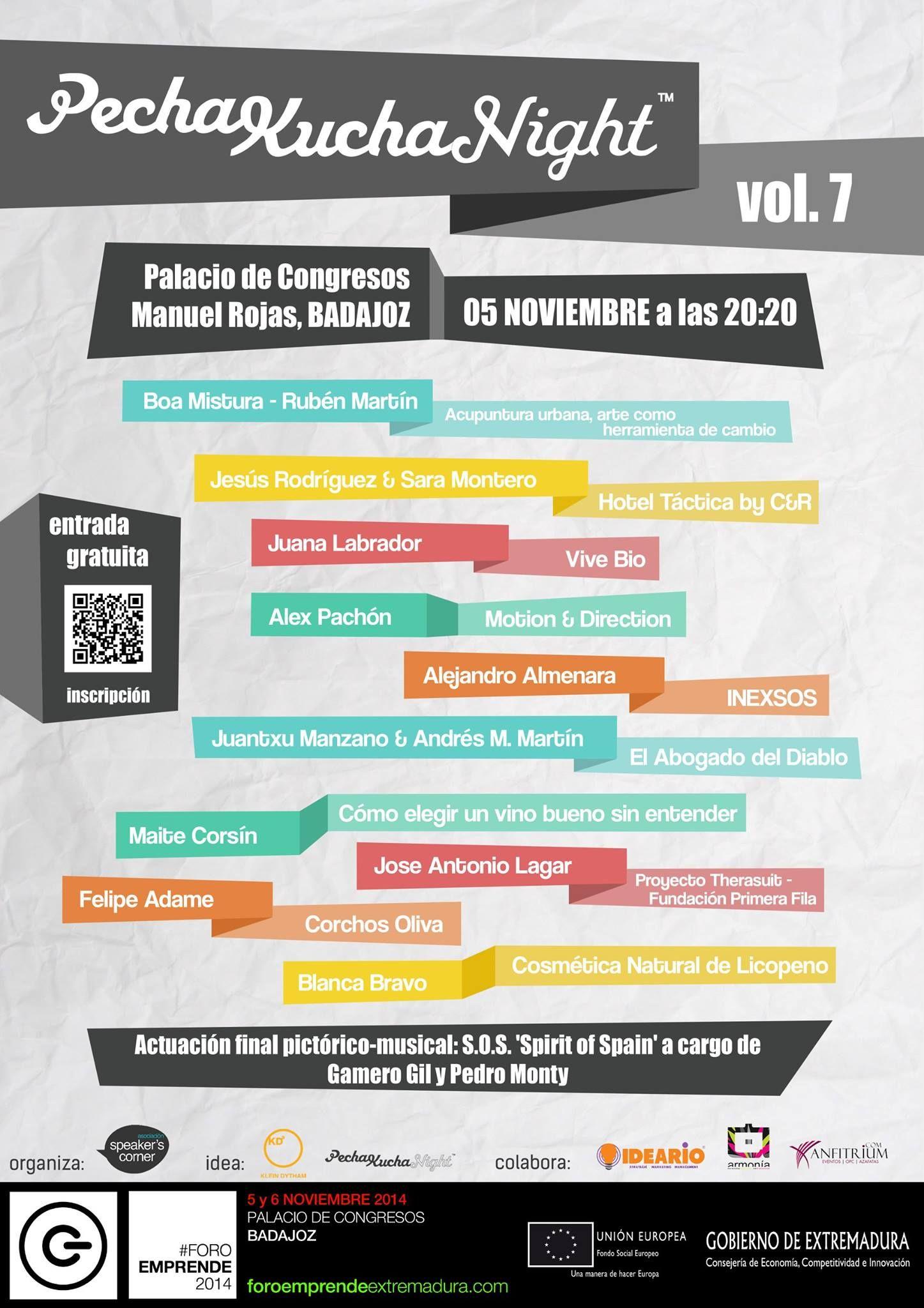 ¡El próximo 5N tenemos una cita con PechaKucha Badajoz! Somos #pechakuchers! WOW! Un cartel cargado de gente inspiradora! No te lo pierdas!