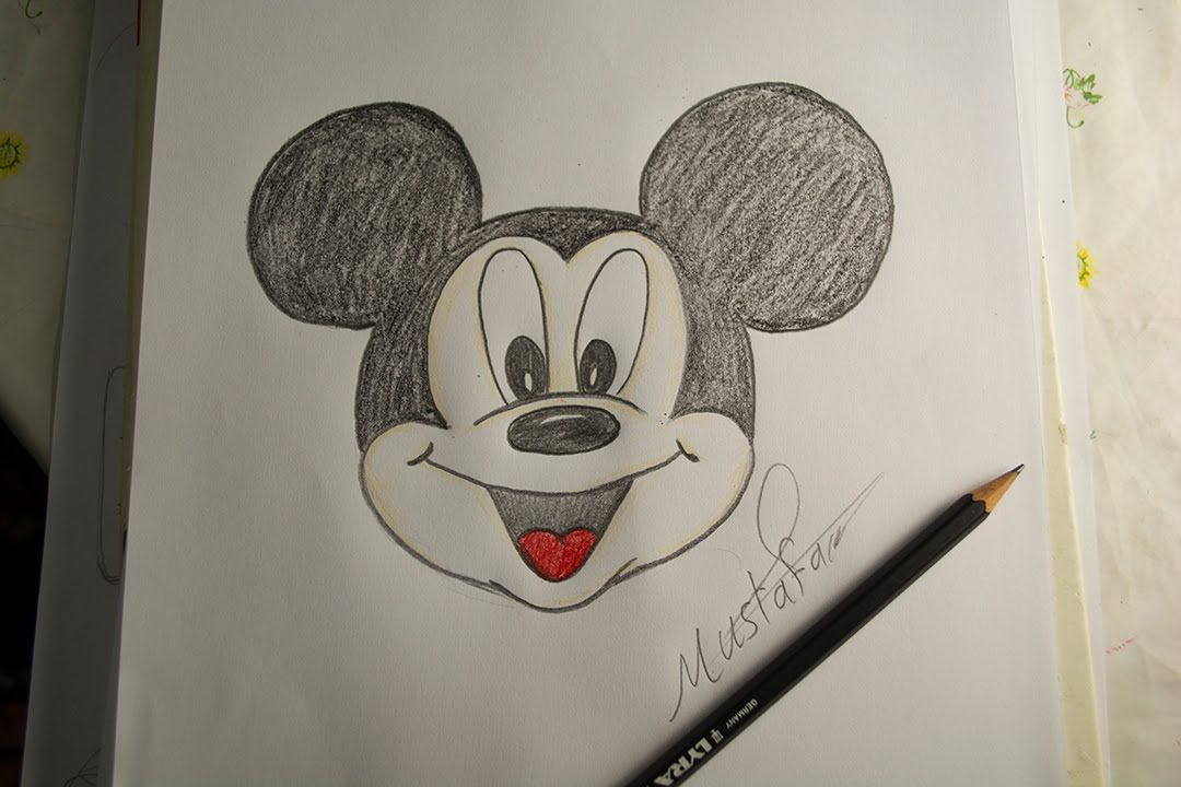 تعلم الرسم الدرس الاول كيفية رسم ميكي ماوس بالرصاص والالوان Drawing For Kids My Drawings Art