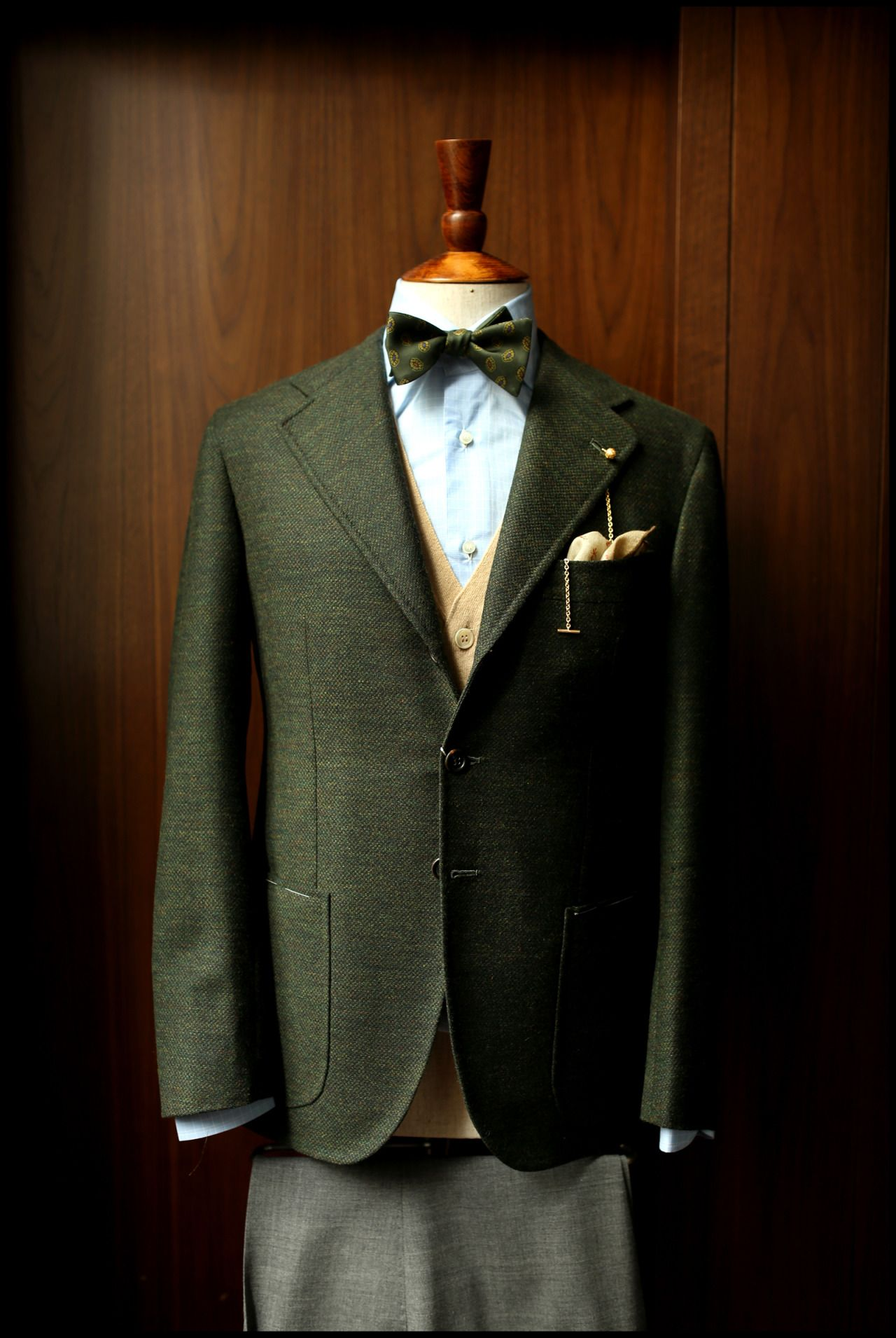 """29ca7a97d94301 xrxxxx: """" Green Orazio Luciano sport coat in Armoury cut. featuring the  gold Longevity lapel chain Drake's bow tie The Armoury camelhair waistcoat  ..."""