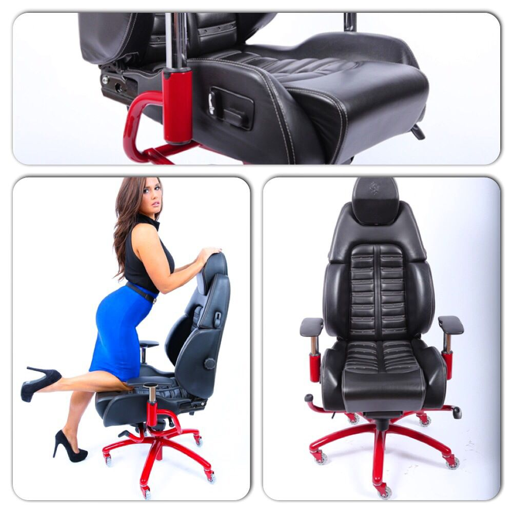 Racechairs Authentic Ferrari Daytona office chair in black leather with white stitching over