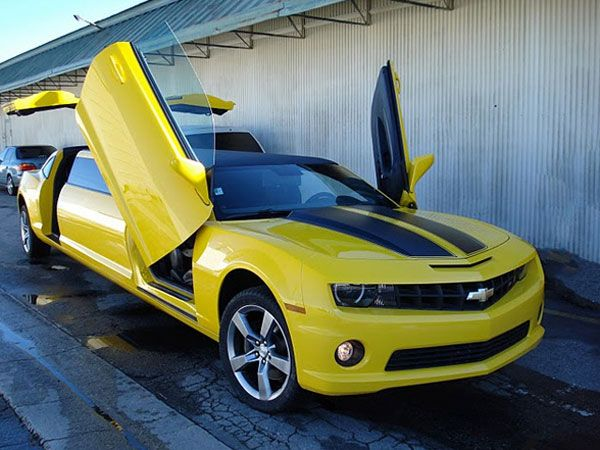 """The Bumblebee Transformer"", Avolar Limo's custom-built 312-horsepower Camaro limo.......**sigh**"