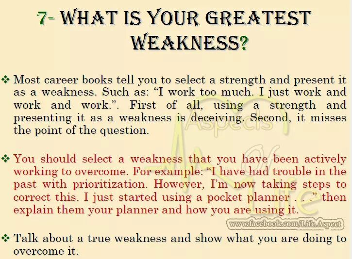 Another Question From Hr What Is Your Greatest Weakness
