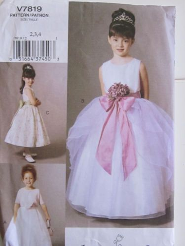Vogue for Me 7819 (2003) Girls Flowergirl Special Occasion Dress Pattern 2-3-4