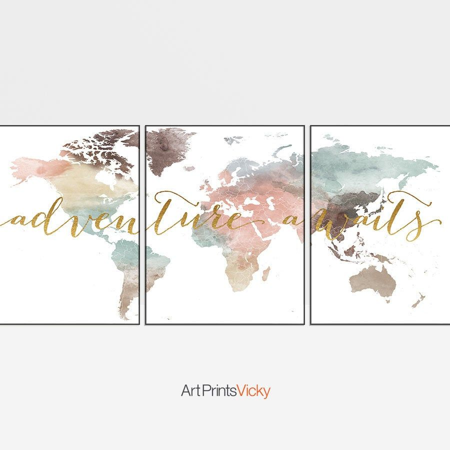 World Map Set Of 3 Prints Adventure Awaits Print World Map Wall Art 3 Pieces Wall Art World Map Watercolour Map Wall Art World Map Wall World Map Wall Art