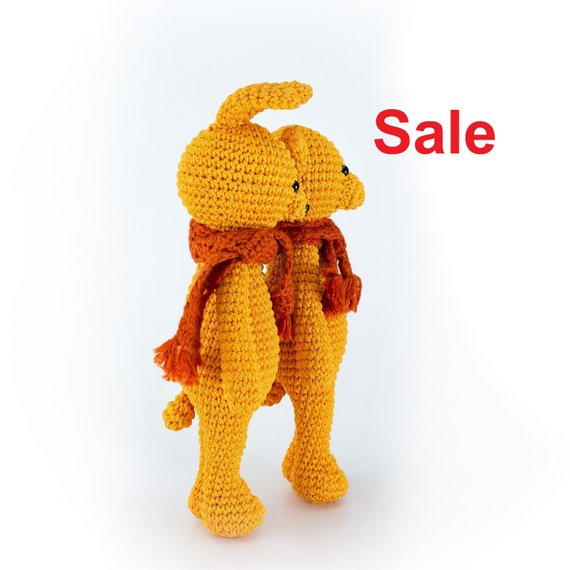 4c86b2637effc yellow hare knitted hare crochet hare handmade toy forest animal toy  amigurumi street toy interior t