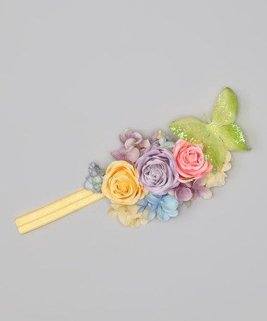 Take a look at this Green & Yellow Flower Butterfly Headband by Enchanted Fairyware Couture on #zulily today!