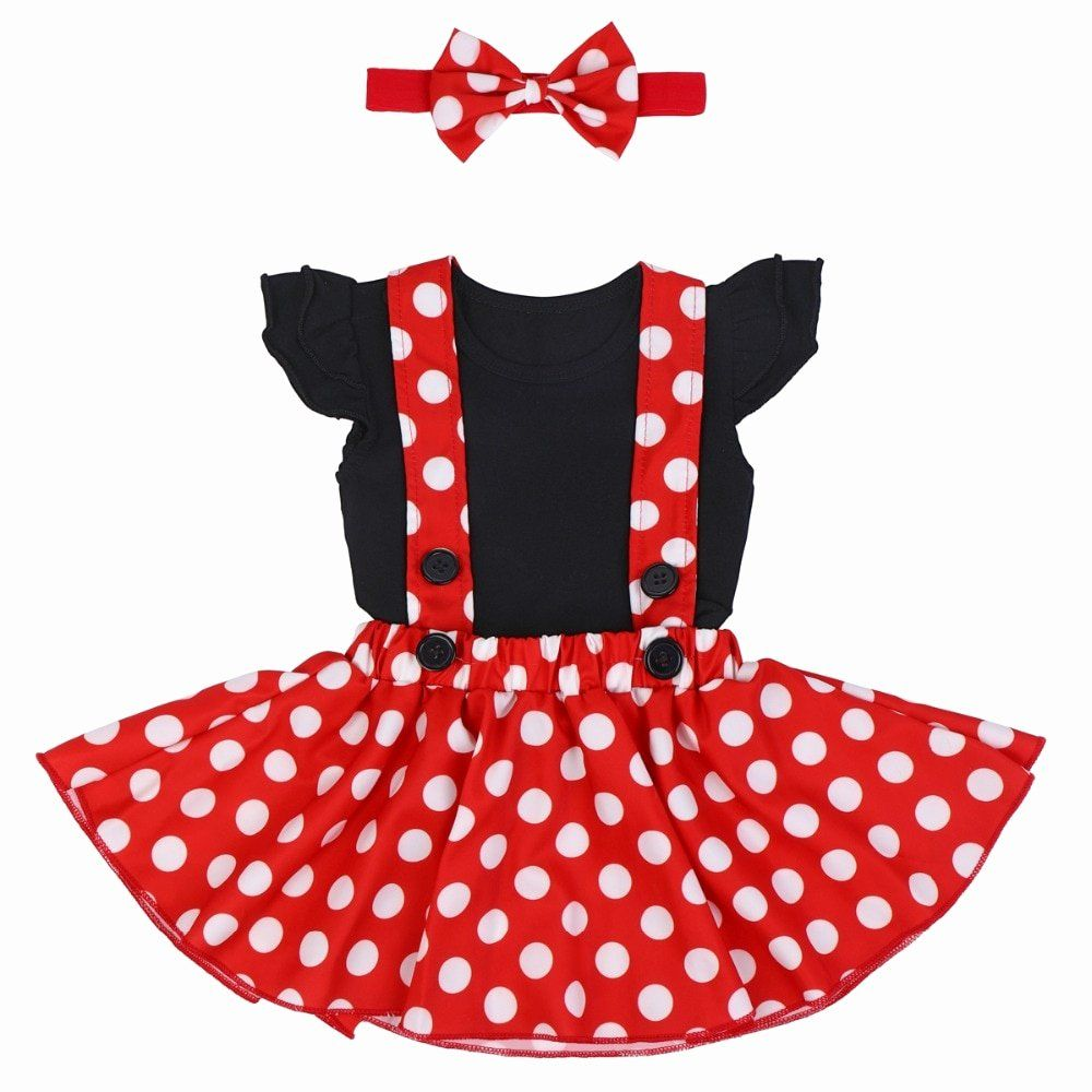RED TUTU SKIRT MINNIE MOUSE POLKA DOT FANCY DRESS PARTY TODDLER