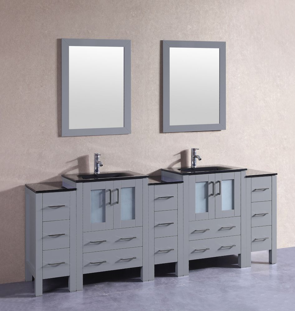 84 Inch W X 18 Inch D Bath Vanity In Gray With Tempered Glass Vanity Top In Black With Black Basins And Double Vanity Bathroom Marble Vanity Tops Double Vanity