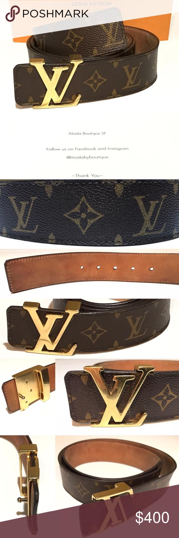 5ff0a31168ca LV INITIALES 40MM M9608 Monogram 34-40 100% Authentic Louis Vuitton Paris Golden  Buckle