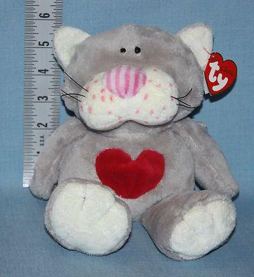 f0ddaa00e0c 2005 Ty Classic Kissycat Grey Pink Heart Kitten Plush