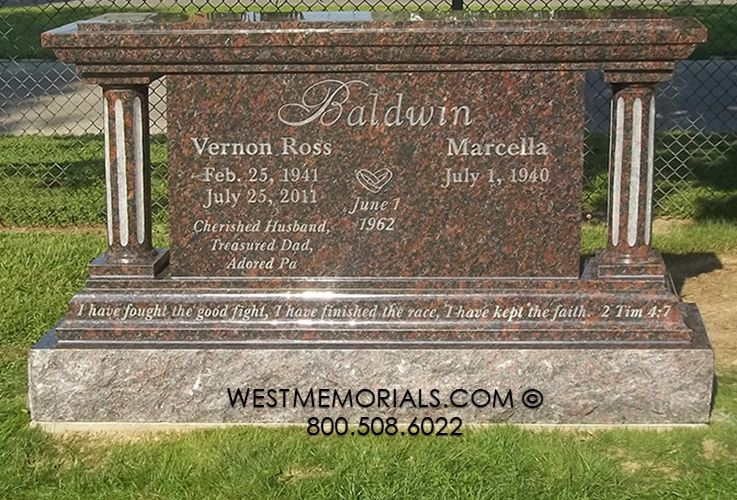 Granite Headstones Grave : Baldwin with round columns headstone in brown and rust