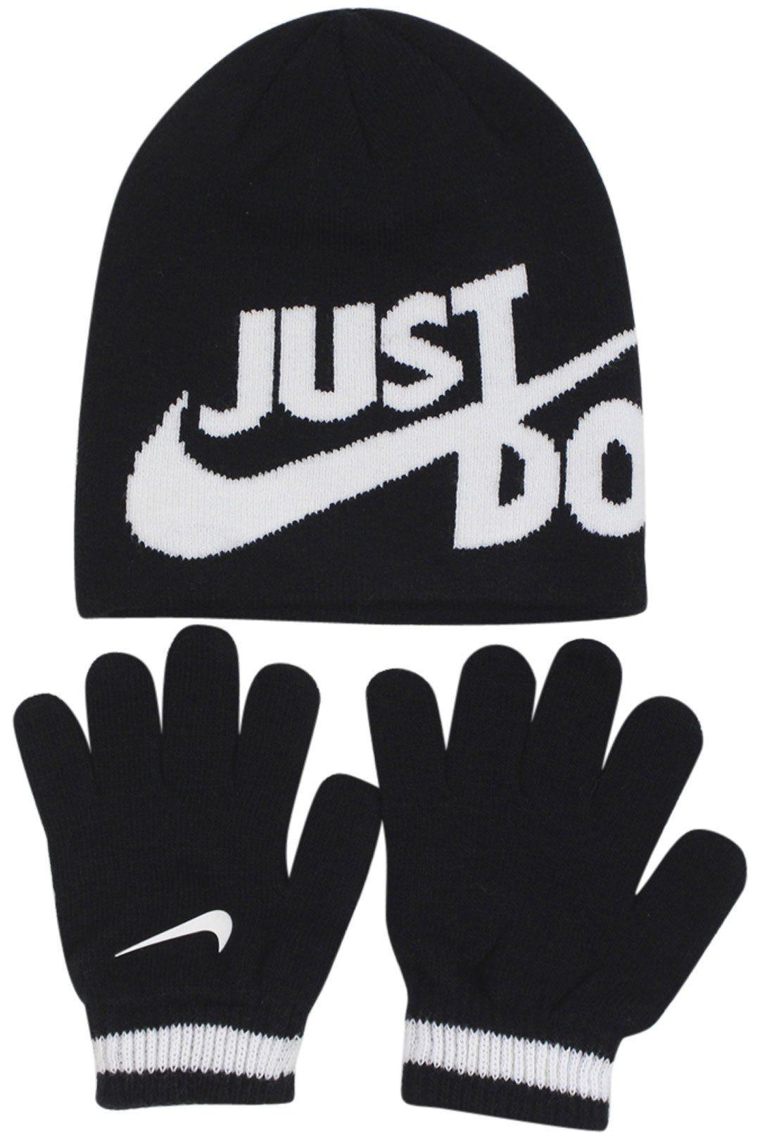 ed9a26f106337 Nike Boy s Just Do It 2-Piece Black Beanie Hat   Gloves Set Sz  4 7 ...
