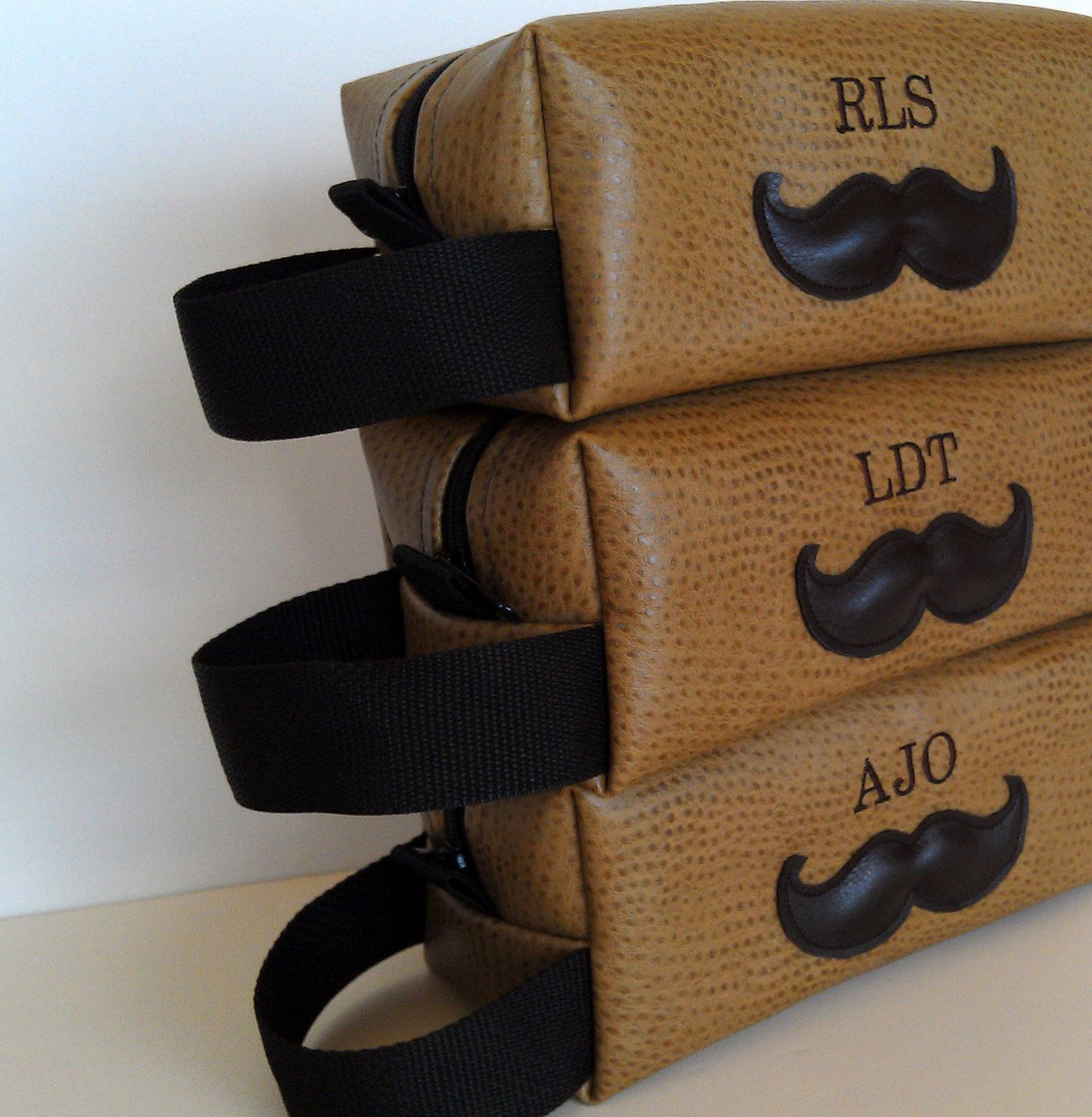 Mens Wedding Party Gifts: Groomsman Gift Personalized Mens Toiletry Bag Mustache