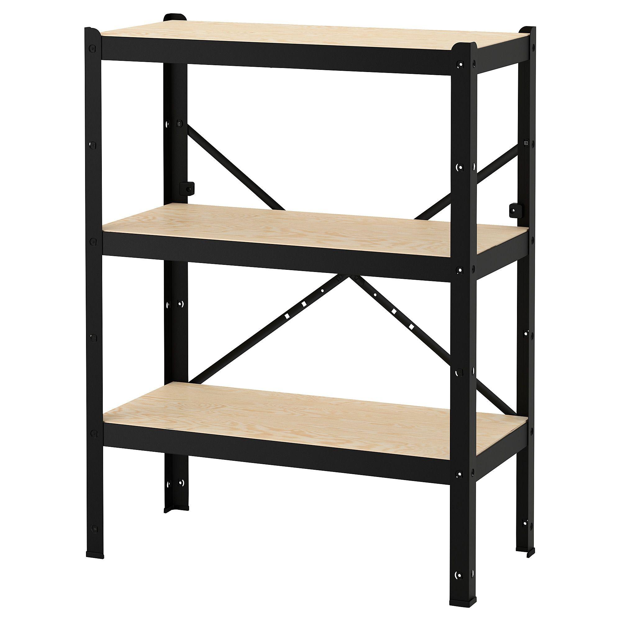 Bror Etagere Noir Bois 85x40x110 Cm Ikea In 2020 Shelving Unit Shelving Wood Shelving Units