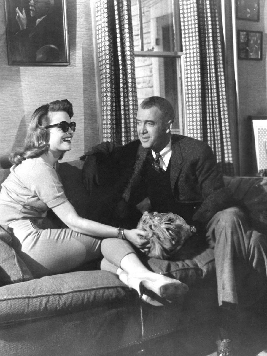 """Jimmy Stewart and Lee Remick on the set of """"Anatomy of a Murder ..."""