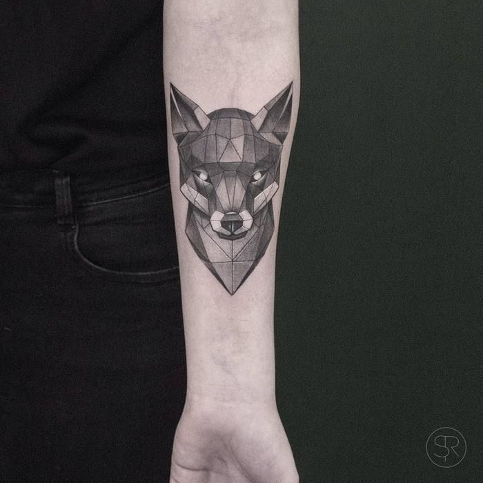 Geometric Fox Head Tattoo By Svenrayen Geometric Animal Tattoo Fox Tattoo Geometric Fox Tattoo