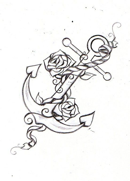 anchor rope rose tattoo sketch