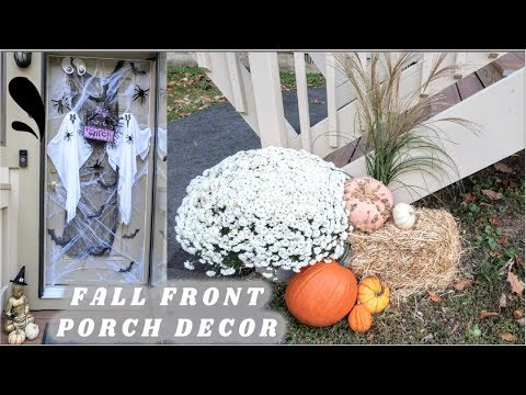 FALL & HALLOWEEN FRONT PORCH DECORATE WITH ME 2019 | FRONT PORCH DECOR | DOLLAR TREE & TARGET #fallfrontporchdecor