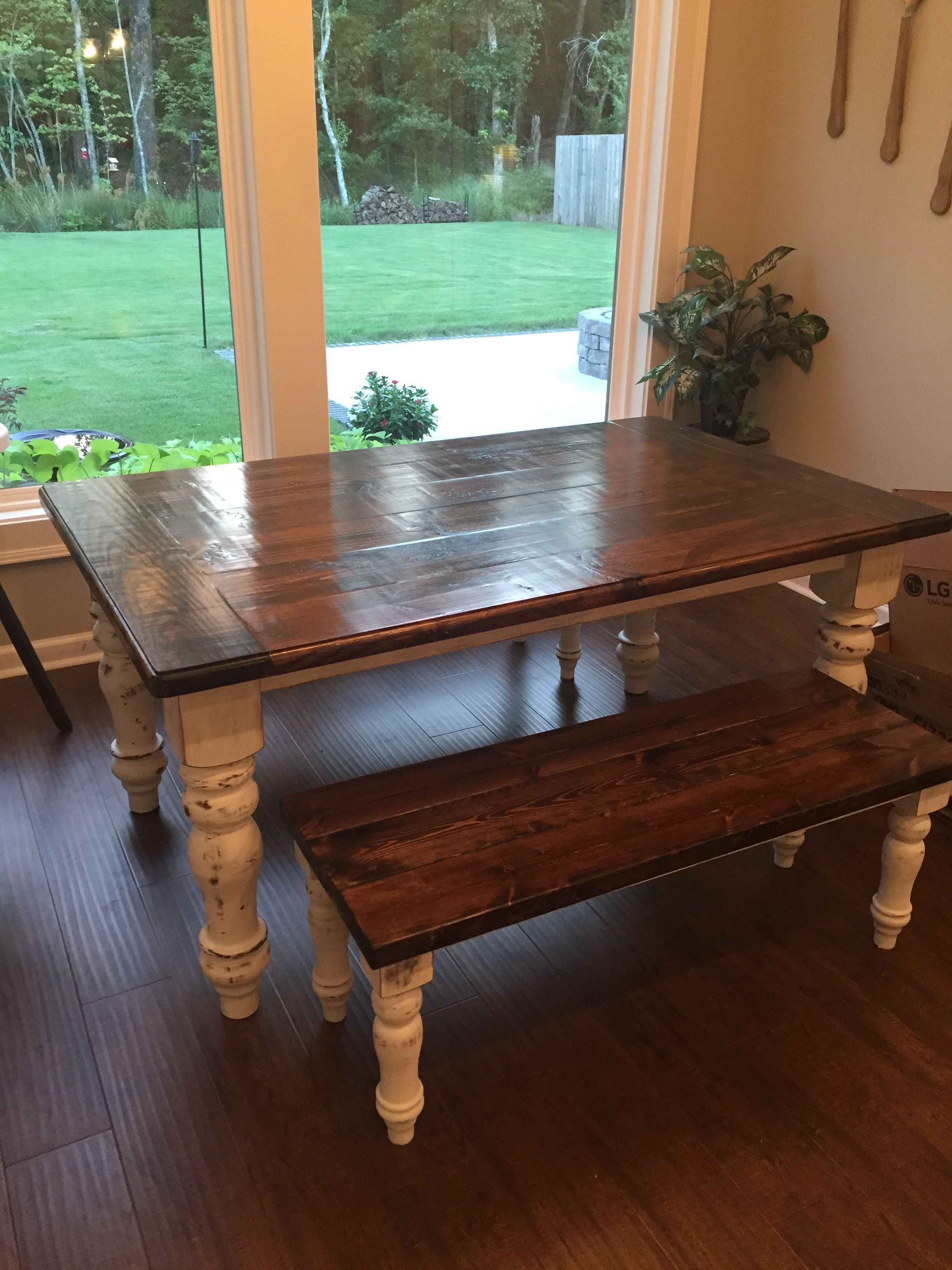 Beautiful farmhouse dining table with slightly distressed