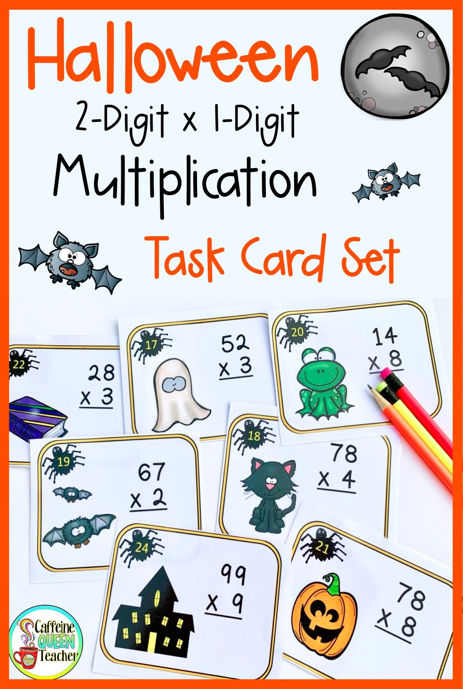 2 Digit Multiplication Halloween Task Cards